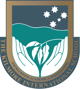 School crest: Southern cross, hands, Eucalypt branch